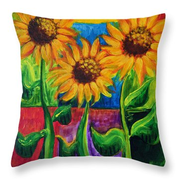 Throw Pillow featuring the painting Sonflowers II by Holly Carmichael