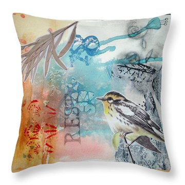 Throw Pillow featuring the mixed media Song Of Life  by Rose Legge