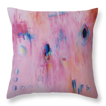 Working Through The Layers Pink Throw Pillow by Suzzanna Frank