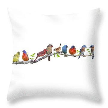 Songbirds On A Leafy Branch Throw Pillow by Bonnie Barry