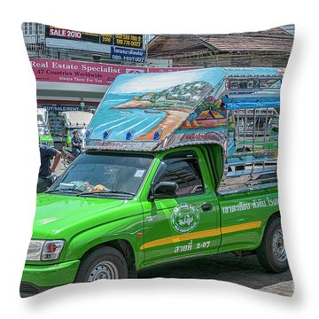 Throw Pillow featuring the photograph Songthaew Minibus by Antony McAulay