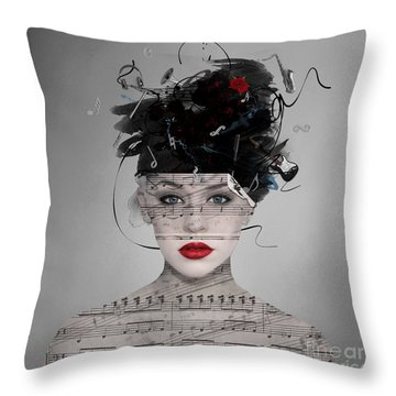 Songwriter Throw Pillow by Nola Lee Kelsey