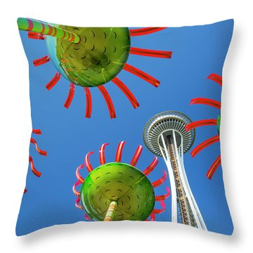 Throw Pillow featuring the photograph Sonic Bloom In Seattle Center by Adam Romanowicz