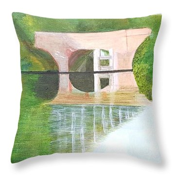 Sonning Bridge In Autumn Throw Pillow by Joanne Perkins