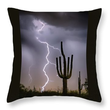 Throw Pillow featuring the photograph Sonoran Desert Monsoon Storming by James BO Insogna
