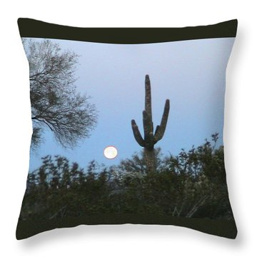 Sonoran Desert Moonset Throw Pillow
