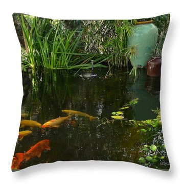 Soothing Koi Pond Throw Pillow by K L Kingston