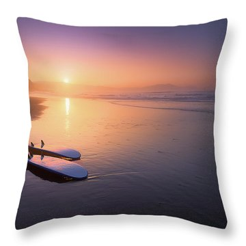 Sopelana Beach With Surfboards On The Shore Throw Pillow