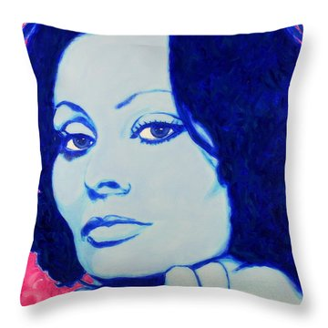 Sophia Loren Pop Art Portrait Throw Pillow