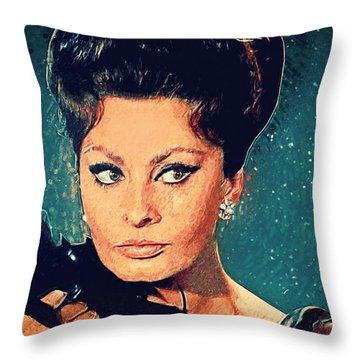 Sophia Loren Throw Pillow by Taylan Apukovska