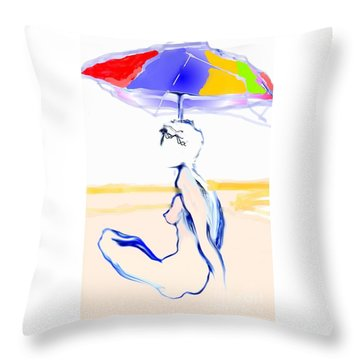 Sophi's Umbrella #2 - Female Nude Throw Pillow by Carolyn Weltman