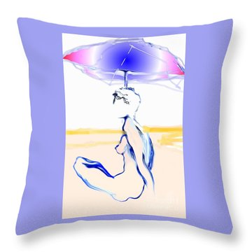Throw Pillow featuring the painting Sophi's Umbrella - Female Nude by Carolyn Weltman