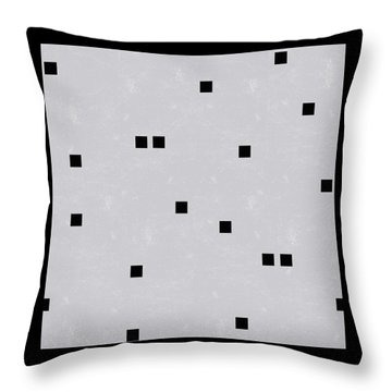 Sophisticated Decor Pattern, Black Square Confetti, Grey Linen Texture Throw Pillow by Tina Lavoie