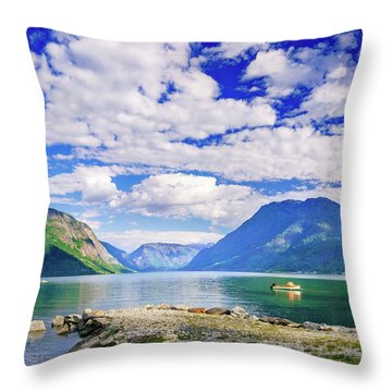 Throw Pillow featuring the photograph Soreimsfjorden by Dmytro Korol