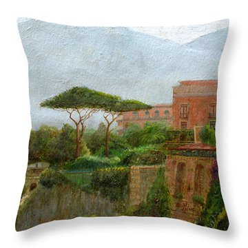 Sorrento Albergo Throw Pillow by Trevor Neal