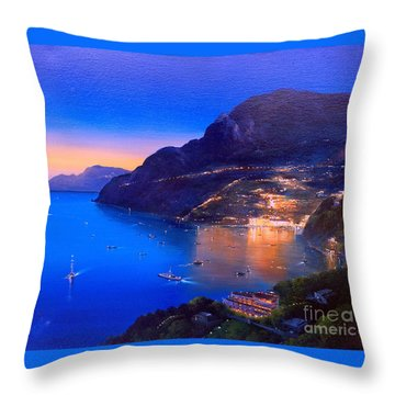 Throw Pillow featuring the painting La Dolce Vita A Sorrento by Rosario Piazza