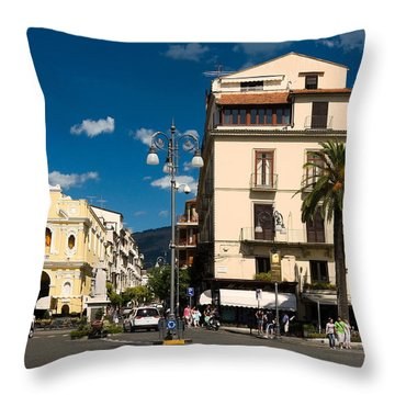 Sorrento Italy Piazza Throw Pillow by Sally Weigand