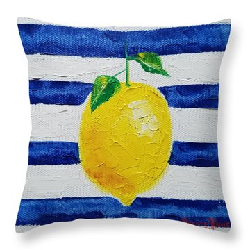 Throw Pillow featuring the painting Sorrento Lemon by Judith Rhue