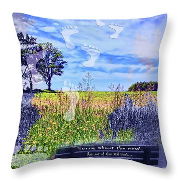 Sorry About The Mess Throw Pillow by Cathy  Beharriell