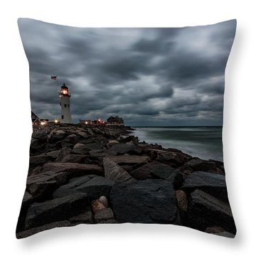 Stormy Clouds Over Old Scituate Lighthouse In The Early Morning Throw Pillow