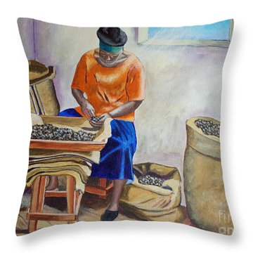 Sorting Nutmegs Throw Pillow
