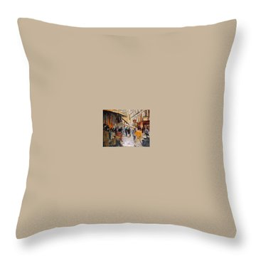 Throw Pillow featuring the painting Souk De Buci by Walter Casaravilla