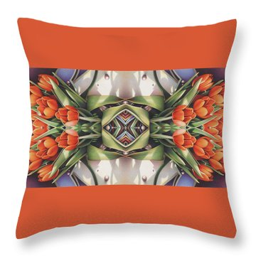 Soul Plexus - Tulips With Pearl Chakras Throw Pillow by Amy S Turner