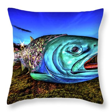 Soul Salmon During Blue Hour Throw Pillow