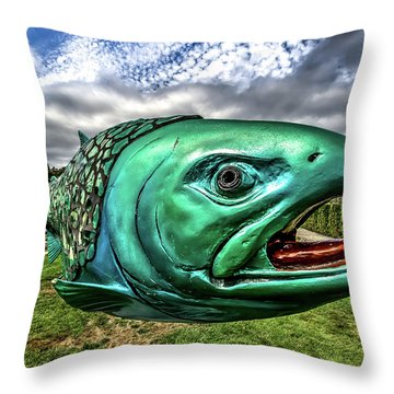 Soul Salmon In Hdr Throw Pillow