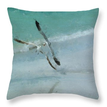Sound Of Seagulls Throw Pillow by Claire Bull