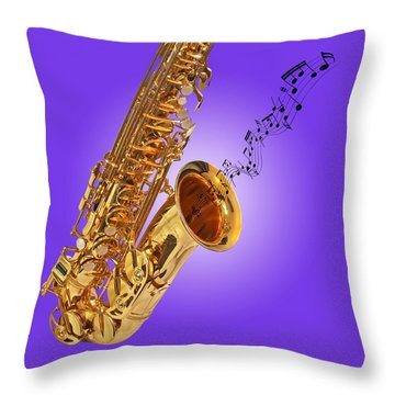 Sounds Of The Sax In Purple Throw Pillow