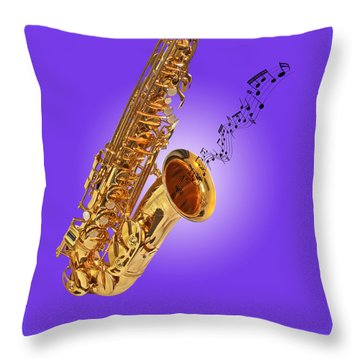 Sounds Of The Sax In Purple Throw Pillow by Gill Billington
