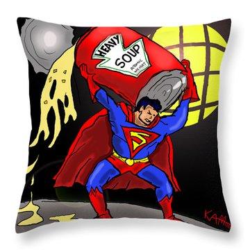 Souperman Throw Pillow