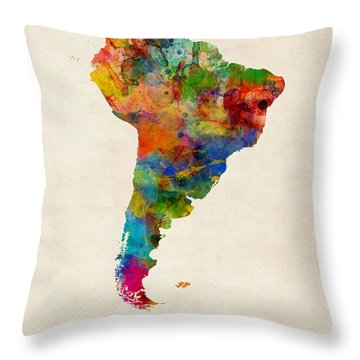 South America Watercolor Map Throw Pillow by Michael Tompsett