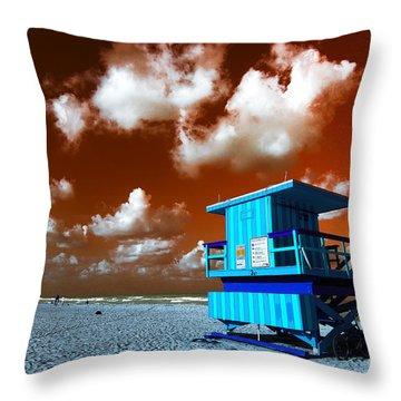 Throw Pillow featuring the photograph South Beach Lifeguard Pop Art by John Rizzuto