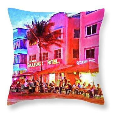 South Beach Neon Throw Pillow by Dennis Cox WorldViews