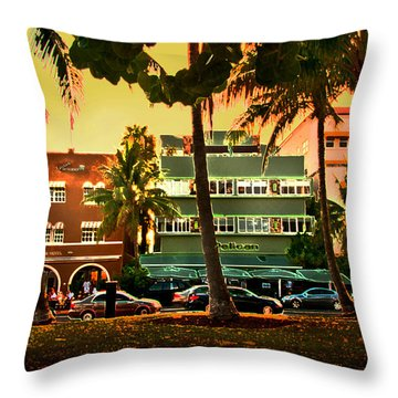 South Beach Ocean Drive Throw Pillow