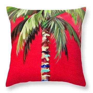 South Beach Palm II Throw Pillow by Kristen Abrahamson
