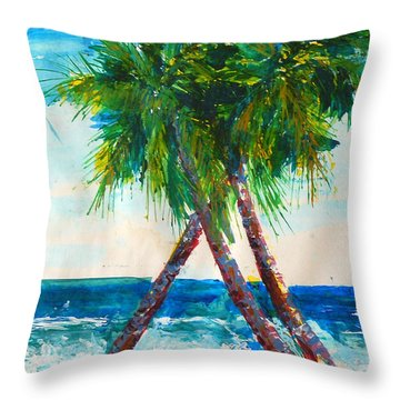 South Beach Palms Throw Pillow