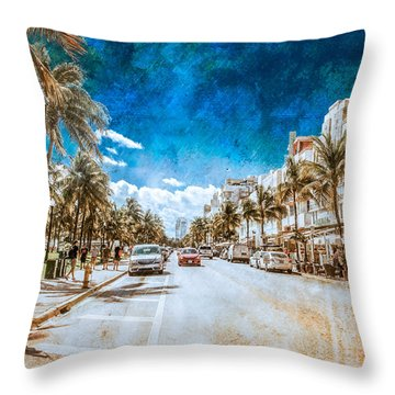 Throw Pillow featuring the photograph South Beach Road by Melinda Ledsome