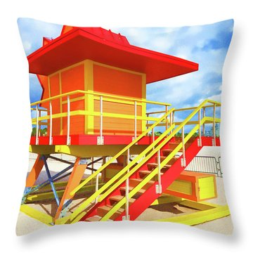 South Beach Station Throw Pillow by Dennis Cox WorldViews
