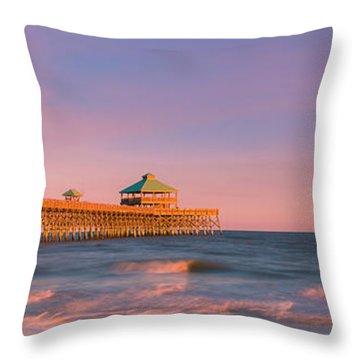 Throw Pillow featuring the photograph South Carolina Fishing Pier At Sunset Panorama by Ranjay Mitra