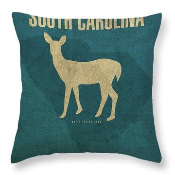 South Carolina State Facts Minimalist Movie Poster Art Throw Pillow