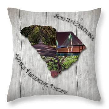 South Carolina State Map Collage Throw Pillow