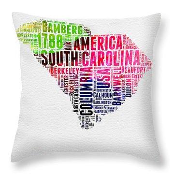 South Carolina Watercolor Word Cloud Throw Pillow