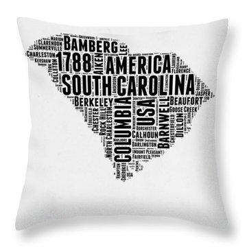 South Carolina Word Cloud 1 Throw Pillow