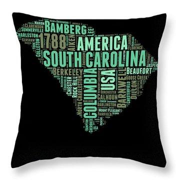 South Carolina Word Cloud 2 Throw Pillow