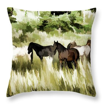 Throw Pillow featuring the mixed media South Dakota Herd Of Horses by Wilma Birdwell