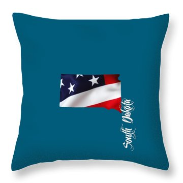 South Dakota Map Collection Throw Pillow