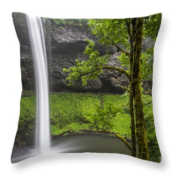 Throw Pillow featuring the photograph South Falls In Silver Falls State Park by Bryan Mullennix